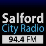 The logo for Salford City Radio